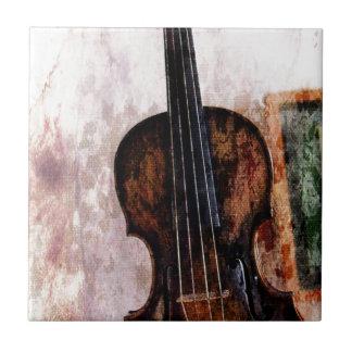 Pintura al óleo encantadora del violín azulejo cuadrado pequeño