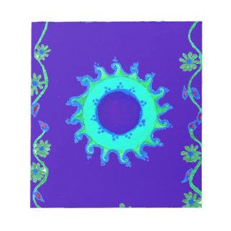 Pintura al óleo floral azul iridiscente del arte libretas para notas