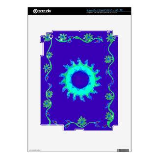 Pintura al óleo floral azul iridiscente del arte pegatina skin para iPad 3