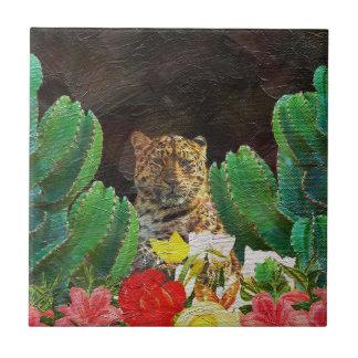 Pintura al óleo floral del cactus hermoso del azulejo cuadrado pequeño