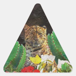 Pintura al óleo floral del cactus hermoso del pegatina triangular