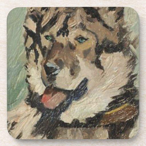 Pintura al óleo fornida del perro posavaso