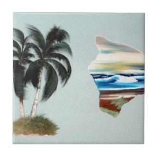 Pintura al óleo grande de la isla y de las palmera azulejo cuadrado pequeño
