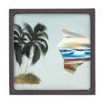 Pintura al óleo grande de la isla y de las palmera cajas de regalo de calidad