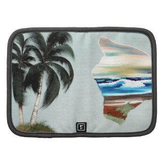 Pintura al óleo grande de la isla y de las palmera organizador