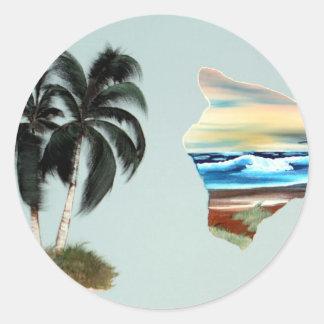 Pintura al óleo grande de la isla y de las pegatina redonda