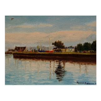Pintura al óleo impresionista del puerto de la postales