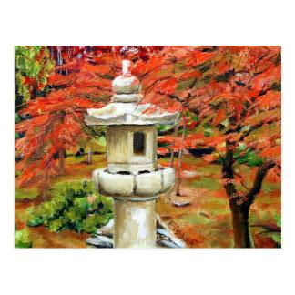 Pintura al óleo japonesa del paisaje del jardín postal