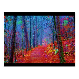 Pintura al óleo ligera negra del bosque tarjeta postal