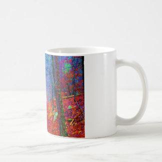 Pintura al óleo ligera negra del bosque tazas de café