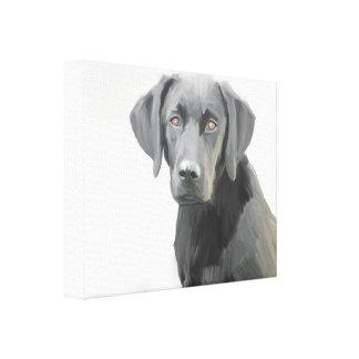 Pintura al óleo negra del perro del labrador impresión en lienzo