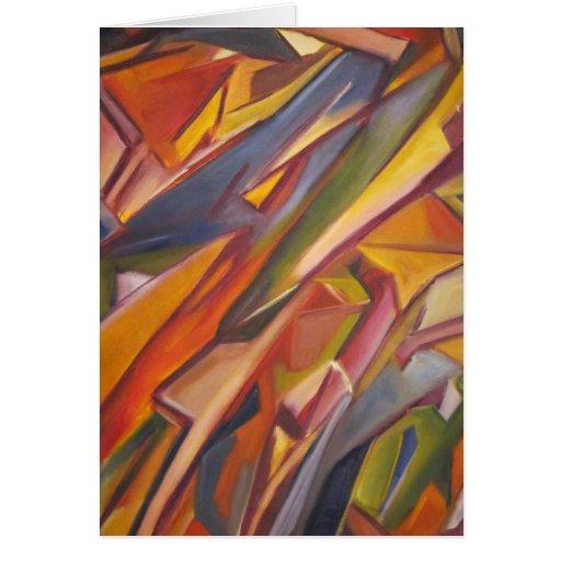 Pintura al óleo original abstracta colorida tarjeta de felicitación