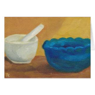 pintura al óleo original azul del mortero y de la  tarjeta de felicitación