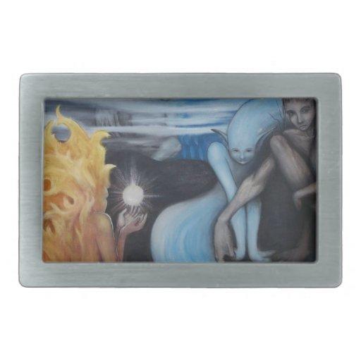 """pintura al óleo original de la """"creación"""" de Jon R Hebillas Cinturon"""