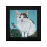 Pintura al óleo original del gato de Juana Casey Cajas De Joyas
