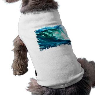 Pintura al óleo pacífica de la resaca del invierno playera sin mangas para perro
