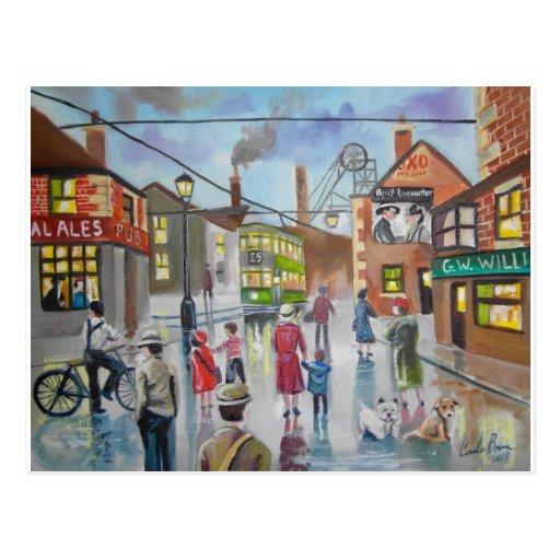 Pintura al óleo real Gordon Bruce del Pub de Alés Postal