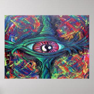 Pintura al óleo torcida del ojo póster