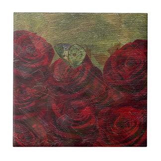 Pintura al óleo verde de los rosas del vintage azulejo cuadrado pequeño