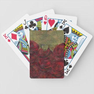 Pintura al óleo verde de los rosas del vintage barajas de cartas