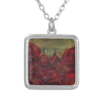 Pintura al óleo verde de los rosas del vintage colgante cuadrado