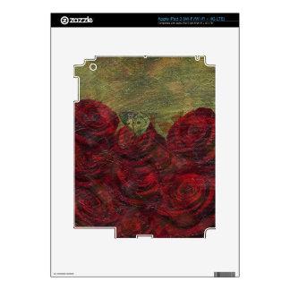 Pintura al óleo verde de los rosas del vintage iPad 3 pegatina skin