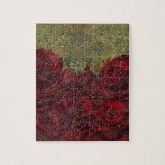 Pintura al óleo verde de los rosas del vintage puzzle