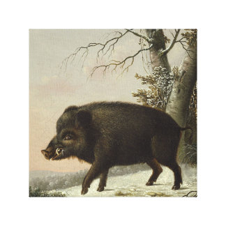 Pintura alemana del vintage del cerdo del verraco lienzo envuelto para galerias
