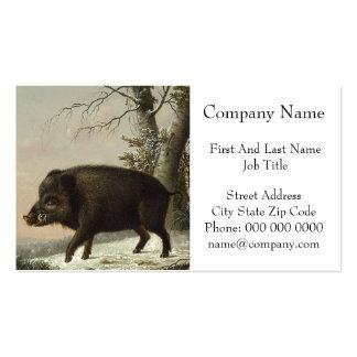 Pintura alemana del vintage del cerdo del verraco tarjeta de visita