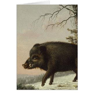 Pintura alemana del vintage del cerdo del verraco tarjeta de felicitación