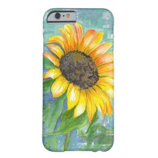 Pintura amarilla de la acuarela del girasol de la funda de iPhone 6 barely there