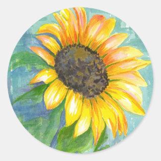 Pintura amarilla de la acuarela del girasol de la pegatina redonda