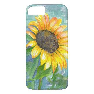 Pintura amarilla de la acuarela del girasol funda iPhone 7