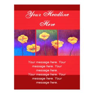 Pintura amarilla de la flor de la amapola - multi tarjetas publicitarias