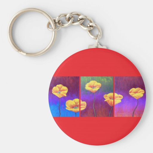Pintura amarilla de la flor de la amapola - multi llavero redondo tipo pin