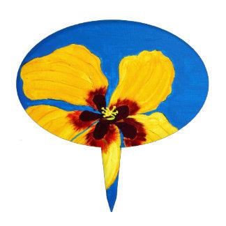 Pintura amarilla de la flor del hibisco decoraciones de tartas