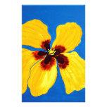 Pintura amarilla de la flor del hibisco  papeleria