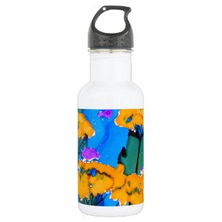 Pintura amarilla del arte de la flor de la botella de agua de acero inoxidable