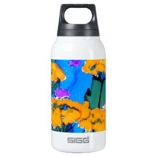 Pintura amarilla del arte de la flor de la botella isotérmica de agua