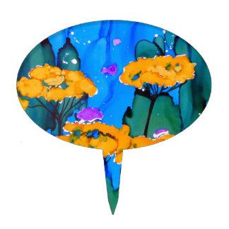 Pintura amarilla del arte de la flor de la milenra figuras para tartas
