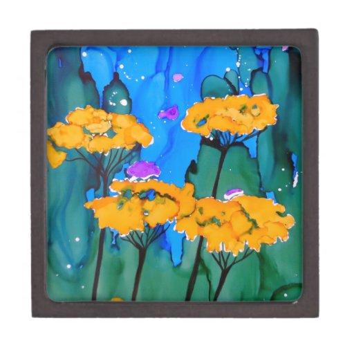 Pintura amarilla del arte de la flor de la milenra caja de recuerdo de calidad