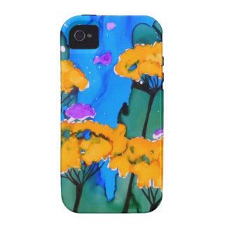 Pintura amarilla del arte de la flor de la milenra iPhone 4/4S funda