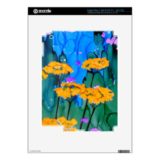 Pintura amarilla del arte de la flor de la milenra iPad 3 pegatinas skins