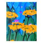 Pintura amarilla del arte de la flor de la milenra membrete a diseño