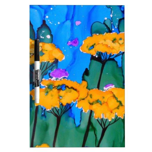 Pintura amarilla del arte de la flor de la milenra pizarra