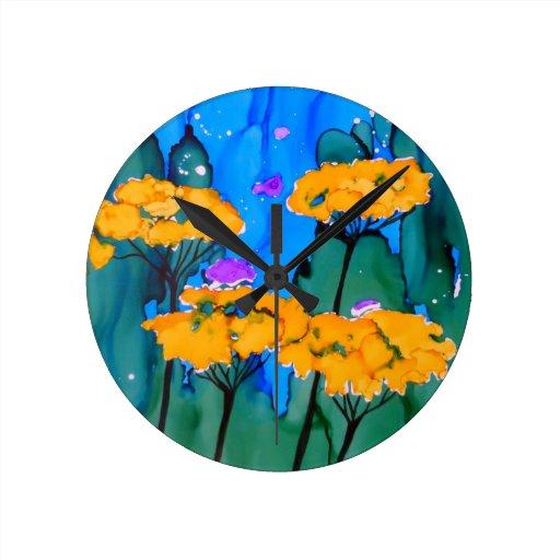 Pintura amarilla del arte de la flor de la milenra relojes