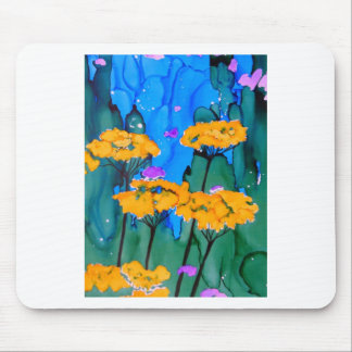 Pintura amarilla del arte de la flor de la milenra alfombrilla de raton