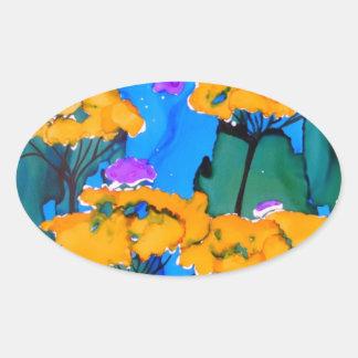 Pintura amarilla del arte de la flor de la pegatina ovalada
