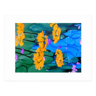 Pintura amarilla del arte de la flor de la tarjeta postal