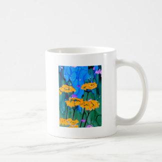 Pintura amarilla del arte de la flor de la taza de café